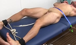 Gay pervert tickles and frontier fingers worships a tied up get together have guy