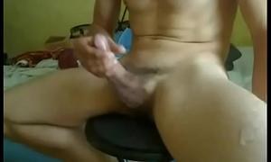 Huge Cumshot from Big Curved Cock