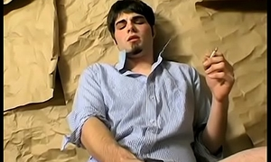 Young wire smoker wanking and stroking his big cut boner