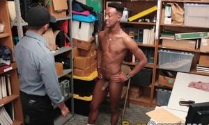 Black gay burglar fucks horny security guard stranger behind