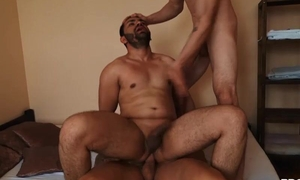 Bearded gay dude gets properly fucked by two horny studs