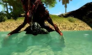 Skyrim Argonian Fucks Mini Dragon at one's fingertips the Shore